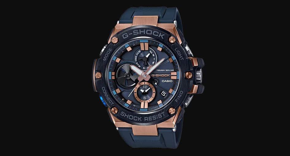 bbdcfb294 GSTB100G-2A، هذه الساعة الحديثة من جي شوك أزرارها وأجزاؤها مصنوعة من  المعدن، كما تقدم لك خيارًا بين لونَي الأزرق أو الذهب الوردي بالنسبة  للأسطوانة الموجودة ...
