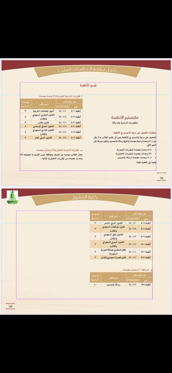 الخطة الدراسية للقانون بجامعة الملك عبدالعزيز