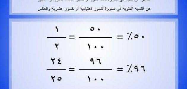 معرفة النسبة المئوية